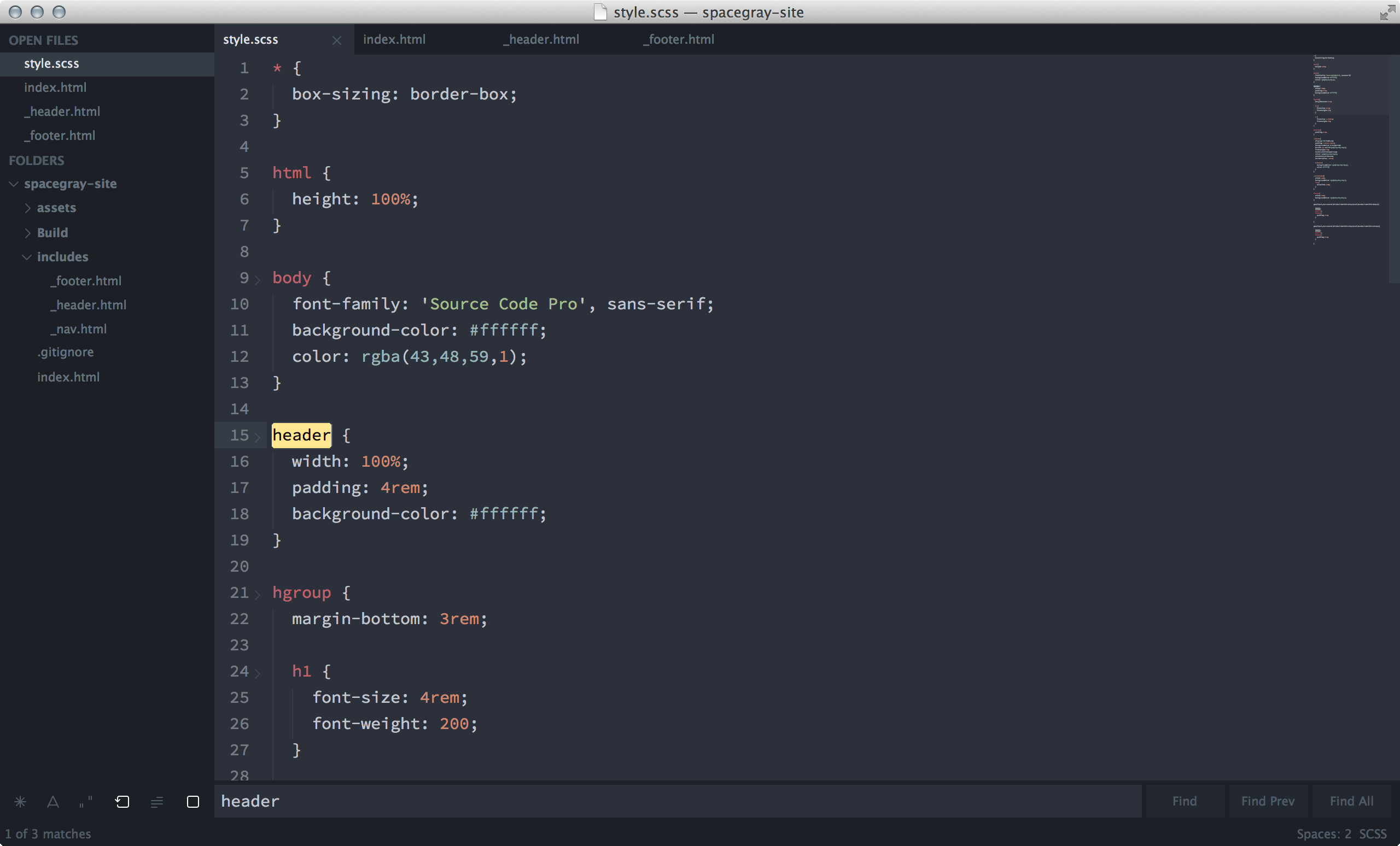 Spacegray — A Hyperminimal UI Theme for Sublime Text